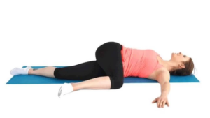 Lying hip and glute stretch